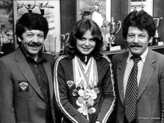 Наталья Румянцева со своими тренерами Валерием и Юрием Нехаевскими
