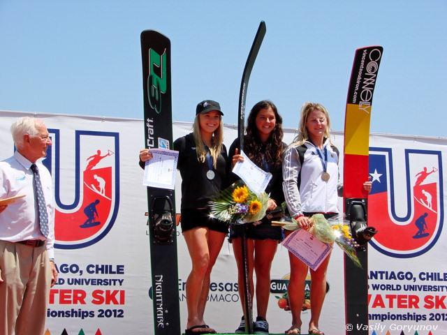 Чемпионки Универсиады в прыжках с трамплина: 1 - Лаурен Морган (США), 2 - Алекс Лауретано (США), 3 - Кейт Адриансен (Бельгия)