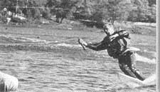 Серебряный призер 1-го чемпионата СССР в слаломе на 1-й лыже А. Петров (команда Вооруженных сил)