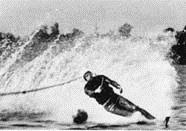 Серебряный призер в многоборье 1-го чемпионата СССР Ю. Жуков (Вооруженные силы) на трассе слалома
