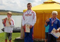 Победители в прыжках с трамплина до 14 лет: I - Егор Арефьев, II - Григорий Суслов, III - Сергей Липатов (фото Егора Арефьева)