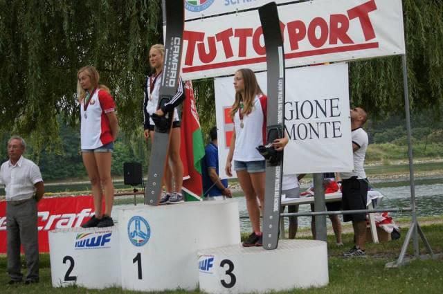 Александра Данишевская и Анна Стрельцова на подиуме чемпионата Европы 2014 до 21 года, Речетто, Италия (фото Íza Starková)