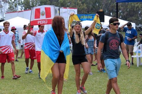 Украинские воднолыжники на параде открытия чемпионата мира в Перу (фото Mundial Juvenil de Esquí Acuático 2014)