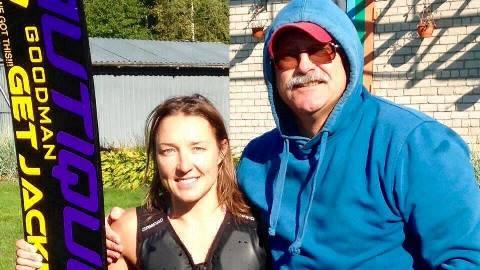 Наталия Бердникова и ее первый воднолыжный тренер Аркадий Генов.