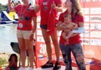 Александра Гибинска, Ирина Турец и Юлия Мейер-Громыко на подиуме турнира в Германии. Фото из ФБ