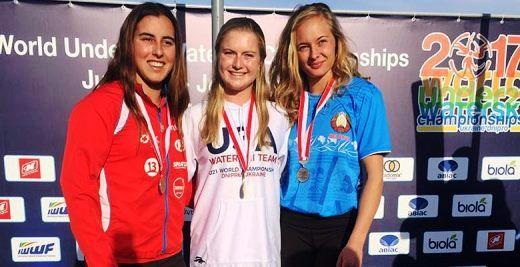 Доминик Алард, Александра Данишевская и Эмма Брунел на подиуме чемпионата мира. Фото Федерации воднолыжного спорта Чили